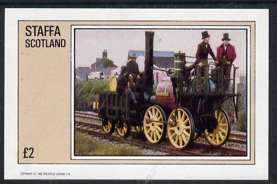 Staffa 1982 Early Steam Locos imperf deluxe sheet (�2 value) unmounted mint