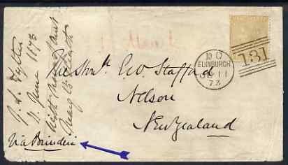 Great Britain 1873 cover to New Zealand bearing QV 9d plate 4 tied by superb Edinburgh 131 cancel, two NZ backstamps, SG98 cat \A31,000 on cover
