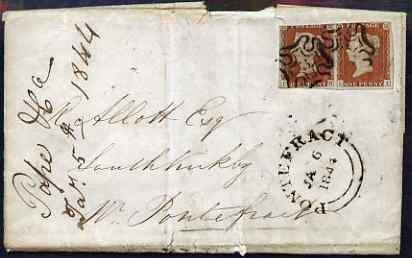 Great Britain 1844 entire to Pontefract bearing pair 1d imperf (LH-LI) with fine Maltese Cross cancels with No.3 within