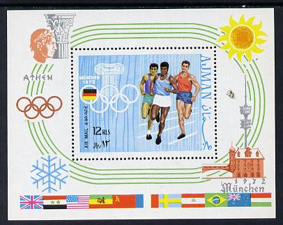 Ajman 1970 Olympics m/sheet unmounted mint (Mi BL 195A) , stamps on sport     olympics    running