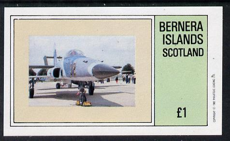 Bernera 1982 Military Jets imperf souvenir sheet (�1 value) unmounted mint