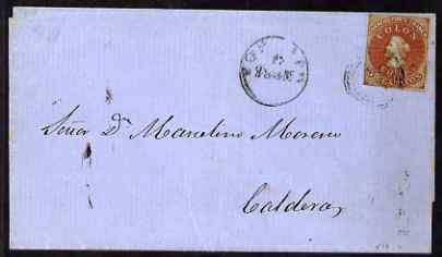 Chile 1861 (?) wrapper used to Caldera, date smudged