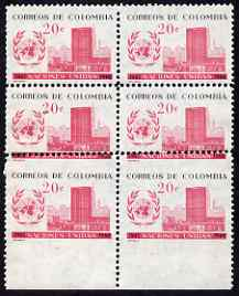Colombia 1960 UN Day 20c marginal block of 6 with major perf variety, 2 stamps with perfs passing through inscription, and two imperf between stamp & margin, unmounted mi...