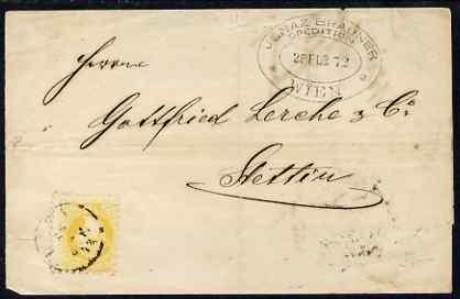 Austria 1876 wrapper Vienna to Stellin bearing 2kr yellow b/stamped AUSG.