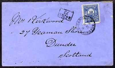 Argentine Republic 1888 attractive cover to Scotland bearing 12c tied BUZONISTAS CAPITAL cds with boxed BUZON 73 alongside