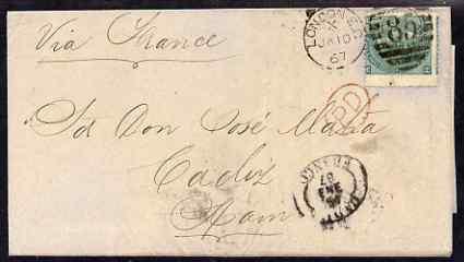 Great Britain 1867 QV 1s pl.4 on entire to Cadiz, SG101