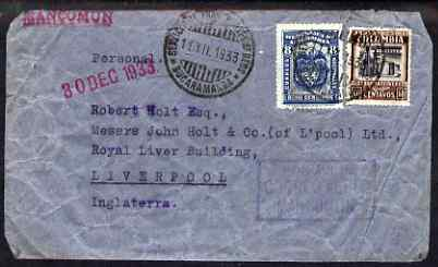 Colombia 1933 Air Mail cover to UK bearing 60c & 8c adhesives, a little wrinkled but still attractive