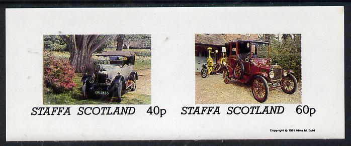 Staffa 1981 Vintage Cars #1 imperf  set of 2 values (Motorbike & Petrol pump in background) unmounted mint