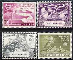 Seychelles 1949 KG6 75th Anniversary of Universal Postal Union set of 4 mounted mint, SG 154-57