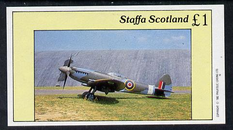 Staffa 1982 WW2 Aircraft #3 (Hurricane) imperf souvenir sheet (�1 value) unmounted mint