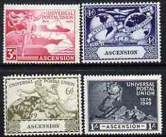 Ascension 1949 KG6 75th Anniversary of Universal Postal Union set of 4 mounted mint, SG52-55, stamps on , stamps on  kg6 , stamps on  upu , stamps on