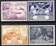 Singapore 1949 KG6 75th Anniversary of Universal Postal Union set of 4 mounted mint, SG 33-36