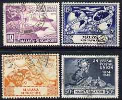 Singapore 1949 KG6 75th Anniversary of Universal Postal Union set of 4 fine cds used, SG 33-36