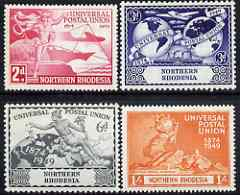 Northern Rhodesia 1949 KG6 75th Anniversary of Universal Postal Union set of 4 mounted mint, SG 50-53