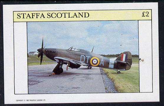 Staffa 1982 WW2 Aircraft #3 (Spitfire) imperf deluxe sheet (�2 value) unmounted mint