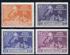 New Hebrides - French 1949 KG6 75th Anniversary of Universal Postal Union set of 4 mounted mint, SG F77-80