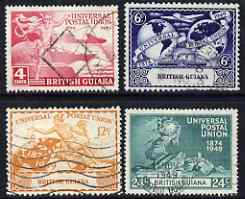 British Guiana 1949 KG6 75th Anniversary of Universal Postal Union set of 4 fine cds used SG 324-7, stamps on , stamps on  stamps on , stamps on  stamps on  kg6 , stamps on  stamps on  upu , stamps on  stamps on