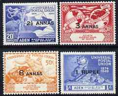Aden - Kathiri 1949 KG6 75th Anniversary of Universal Postal Union set of 4 mounted mint, SG 16-19, stamps on , stamps on  kg6 , stamps on  upu , stamps on