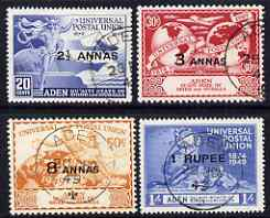 Aden - Quaiti 1949 KG6 75th Anniversary of Universal Postal Union set of 4 cds used SG 16-19, stamps on , stamps on  kg6 , stamps on  upu , stamps on