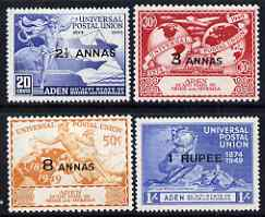 Aden - Qu'aiti 1949 KG6 75th Anniversary of Universal Postal Union set of 4 mounted mint, SG 16-19
