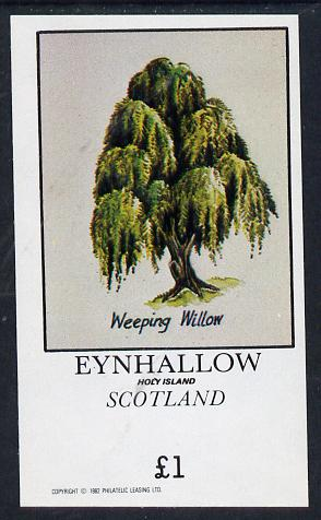 Eynhallow 1982 Trees (Weeping Willow) imperf souvenir sheet (�1 value) unmounted mint, stamps on trees