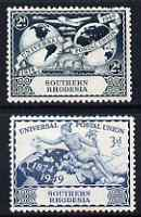 Southern Rhodesia 1949 KG6 75th Anniversary of Universal Postal Union set of 2 mounted mint, SG 68-9