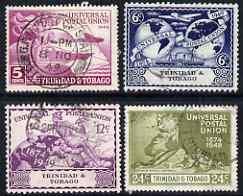 Trinidad & Tobago 1949 KG6 75th Anniversary of Universal Postal Union set of 4 cds used, SG 261-4