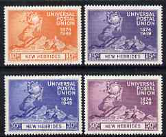 New Hebrides - English 1949 KG6 75th Anniversary of Universal Postal Union set of 4 mounted mint, SG 64-67