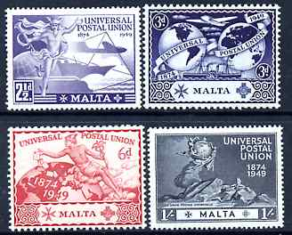 Malta 1949 KG6 75th Anniversary of Universal Postal Union set of 4 mounted mint, SG 251-4