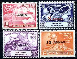 Somaliland 1949 KG6 75th Anniversary of Universal Postal Union set of 4 mounted mint, SG 121-24