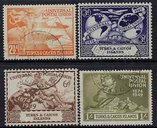 Turks & Caicos Islands 1949 KG6 75th Anniversary of Universal Postal Union set of 4 cds used, SG 217-20