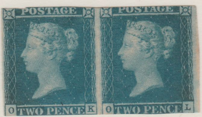 Great Britain 1841 QV 2d blue horiz pair OK-OL slightly cut top & bottom margins but fresh and good looking showing fine Ivory Head on reverse, SG14 cat \A38,500 as  sing...