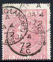 Great Britain 1867 QV 5s pale rose plate 1 centred to lower left but good colour and cds cancels, SG127 cat \A3600