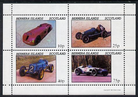 Bernera 1981 Early Racing Cars perf  set of 4 values (imprint in lower margin) unmounted mint