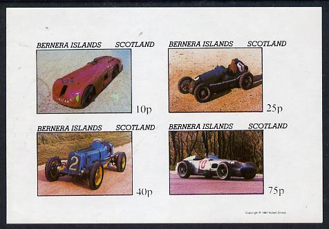 Bernera 1981 Early Racing Cars imperf  set of 4 values (imprint in lower margin) unmounted mint