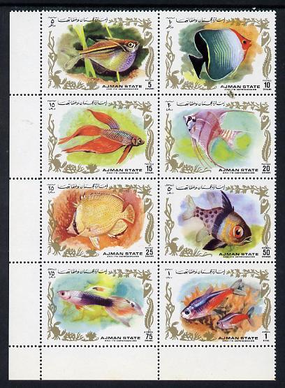 Ajman 1972 Fish perf set of 8 unmounted mint, Mi 1312-19A