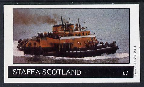 Staffa 1982 Tugs imperf souvenir sheet (�1 value) unmounted mint