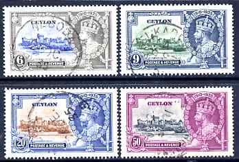 Ceylon 1935 KG5 Silver Jubilee set of 4, cds used SG 379-82
