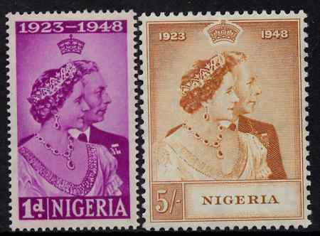 Nigeria 1948 KG6 Royal Silver Wedding perf set of 2 unmounted mint, SG 62-3