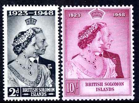 Solomon Islands 1949 KG6 Royal Silver Wedding set of 2 unmounted mint SG 75-6