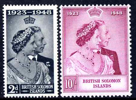 Solomon Islands 1949 KG6 Royal Silver Wedding set of 2 mounted mint SG 75-6