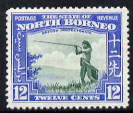 North Borneo 1939 Murut with Blowpipe 12c (from def set) lightly mounted mint, SG 310