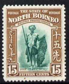 North Borneo 1939 Dyak 15c (from def set) lightly mounted mint, SG 311