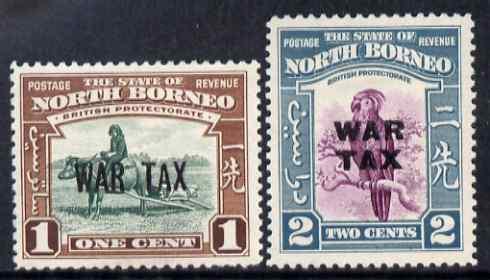North Borneo 1941 War Tax overprint set of 2 lightly mounted mint, SG 318-19