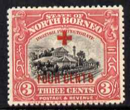 North Borneo 1918 Jesselton Railway Station 3c + 4c (Red Cross Fund) mounted mint, SG 237