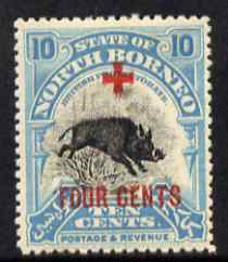 North Borneo 1918 Wild Boar 10c + 4c (Red Cross Fund) mounted mint, SG 242