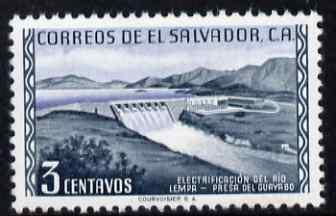 El Salvador 1954 Guayabo Dam 3c unmounted mint, SG 1055