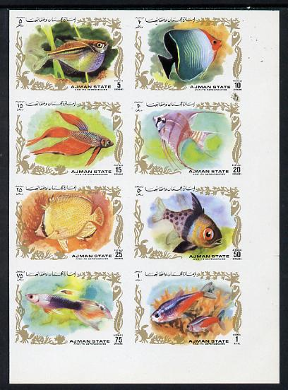 Ajman 1972 Fish imperf set of 8 unmounted mint, Mi 1312-19B