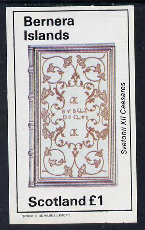 Bernera 1982 Ornate Book Covers #1 imperf souvenir sheet (�1 value)