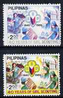 Philippines 1980 40th Anniversary of Girl Scouting 30s with yellow omitted plus normal. both unmounted mint SG 1587var